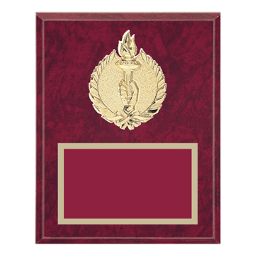 "8"" x 10"" Victory Plaque with gold background plate, colored engraving plate and gold 3D Victory medallion."