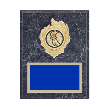 "7"" x 9"" Victory Plaque with gold background, colored engraving plate, gold flame medallion holder and Victory insert."