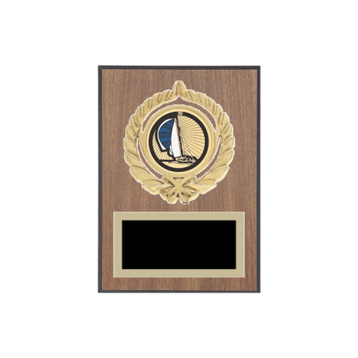 """5"""" x 7"""" Sailing Plaque with gold background plate, colored engraving plate, gold open wreath medallion holder and Sailing insert."""