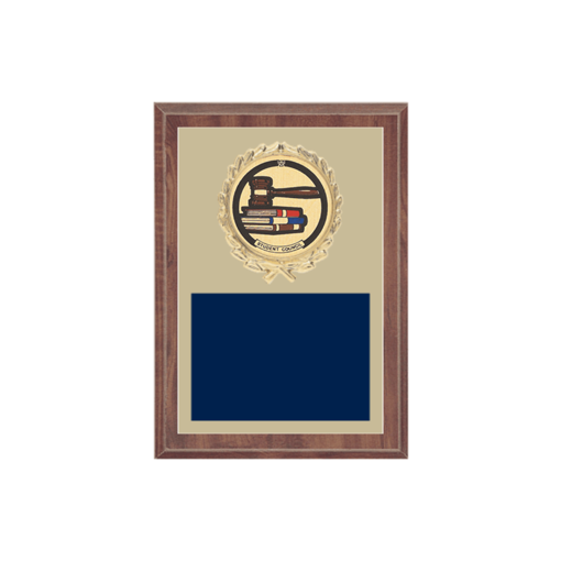 """5"""" x 7"""" Student Council Plaque with gold background plate, colored engraving plate, gold wreath medallion and Student Council insert."""