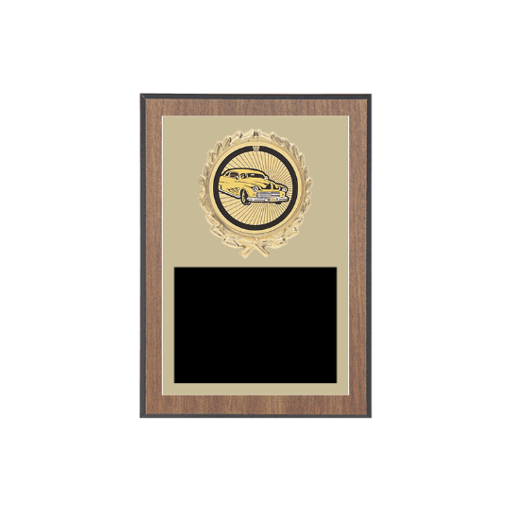 """5"""" x 7"""" Auto/Racing Plaque with gold background plate, colored engraving plate, gold wreath medallion and  Auto/Racing insert."""