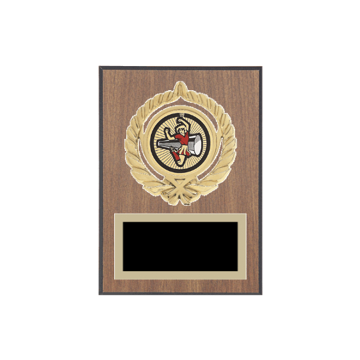 "5"" x 7"" Cheerleading Plaque with gold background plate, colored engraving plate, gold open wreath medallion holder and Cheerleading insert."