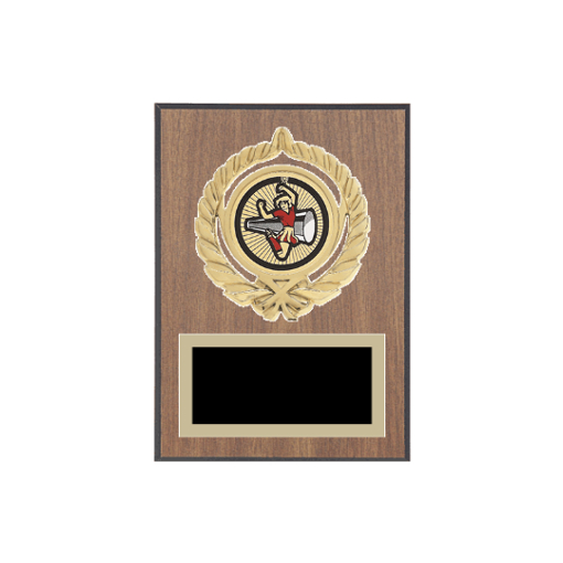 """5"""" x 7"""" Cheerleading Plaque with gold background plate, colored engraving plate, gold open wreath medallion holder and Cheerleading insert."""