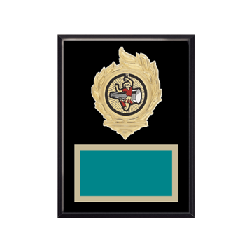 """6"""" x 8"""" Cheerleading Plaque with gold background, colored engraving plate, gold flame medallion holder and Cheerleading insert."""