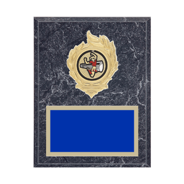 "7"" x 9"" Cheerleading Plaque with gold background, colored engraving plate, gold flame medallion holder and Cheerleading insert."