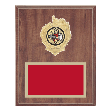 "8"" x 10"" Cheerleading Plaque with gold background, colored engraving plate, gold flame medallion holder and Cheerleading insert."