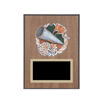 "6"" x 8"" Cheerleading Plaque with gold background plate, colored engraving plate and full color 3D resin Cheerleading medallion."