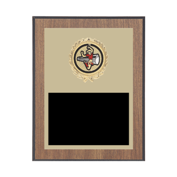 "7"" x 9"" Cheerleading Plaque with gold background plate, colored engraving plate, gold wreath medallion and Cheerleading insert."