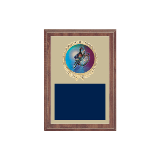 """5"""" x 7"""" Cycling Plaque with gold background plate, colored engraving plate, gold wreath medallion and Cycling insert."""