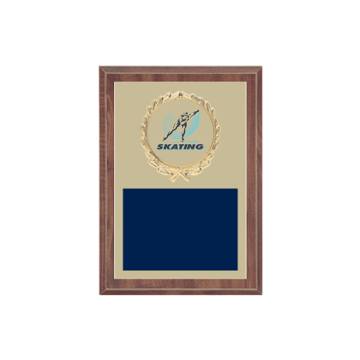 """5"""" x 7"""" Ice Skating   Roller Skating Plaque with gold background plate, colored engraving plate, gold wreath medallion and Ice Skating   Roller Skating insert."""