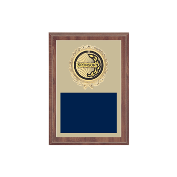 """5"""" x 7"""" Sponsor Plaque with gold background plate, colored engraving plate, gold wreath medallion and Sponsor insert."""