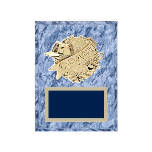 """6"""" x 8"""" Coaching Plaque with gold background plate, colored engraving plate and gold 3D Coaching medallion."""