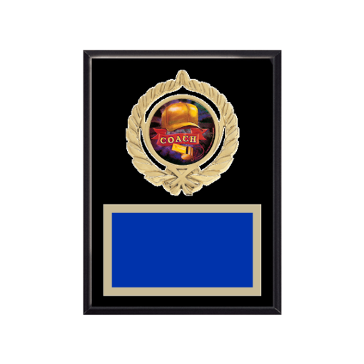 """6"""" x 8"""" Coaching Plaque with gold background plate, colored engraving plate, gold open wreath medallion holder and Coaching insert."""