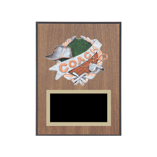 """6"""" x 8"""" Coaching Plaque with gold background plate, colored engraving plate and full color 3D resin Coaching medallion."""