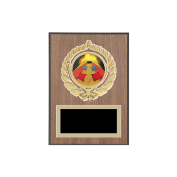 "5"" x 7"" Cornhole Plaque with gold background plate, colored engraving plate, gold open wreath medallion holder and Cornhole insert."