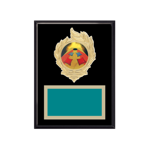 """6"""" x 8"""" Cornhole Plaque with gold background, colored engraving plate, gold flame medallion holder and Cornhole insert."""