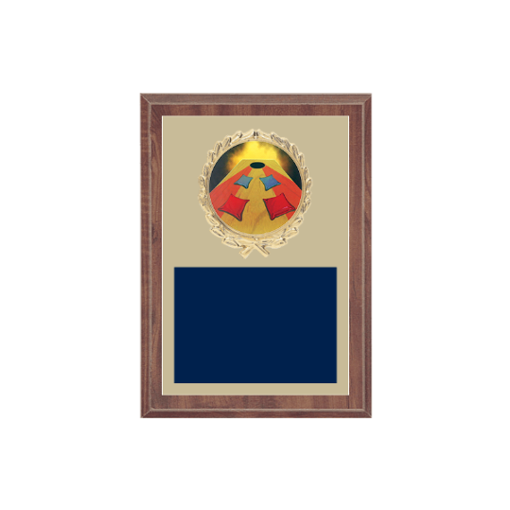 """5"""" x 7"""" Cornhole Plaque with gold background plate, colored engraving plate, gold wreath medallion and Cornhole insert."""