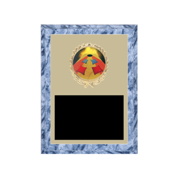 "6"" x 8"" Cornhole Plaque with gold background plate, colored engraving plate, gold wreath medallion and Cornhole insert."