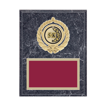 "7"" x 9"" Cross Country Plaque with gold background plate, colored engraving plate, gold open wreath medallion holder and Cross Country insert."