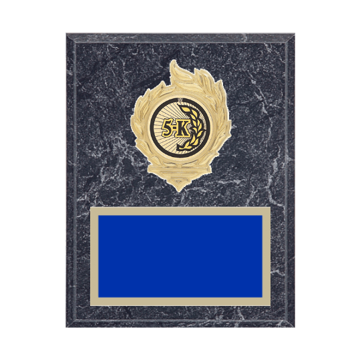 "7"" x 9"" Cross Country Plaque with gold background, colored engraving plate, gold flame medallion holder and Cross Country insert."