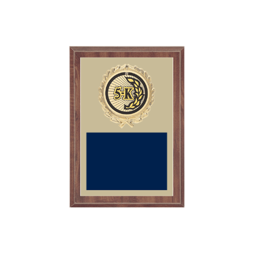 """5"""" x 7"""" Cross Country Plaque with gold background plate, colored engraving plate, gold wreath medallion and Cross Country insert."""