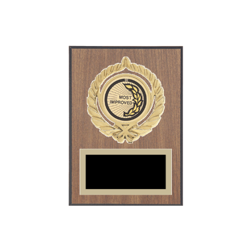 """5"""" x 7"""" Most Improved Plaque with gold background plate, colored engraving plate, gold open wreath medallion holder and Most Improved insert."""