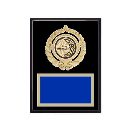 "6"" x 8"" Most Improved Plaque with gold background plate, colored engraving plate, gold open wreath medallion holder and Most Improved insert."