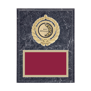"7"" x 9"" Most Improved Plaque with gold background plate, colored engraving plate, gold open wreath medallion holder and Most Improved insert."