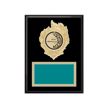 "6"" x 8"" Most Improved Plaque with gold background, colored engraving plate, gold flame medallion holder and Most Improved insert."