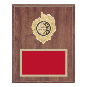 "8"" x 10"" Most Improved Plaque with gold background, colored engraving plate, gold flame medallion holder and Most Improved insert."