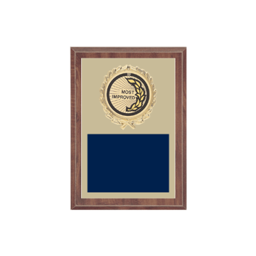 "5"" x 7"" Most Improved Plaque with gold background plate, colored engraving plate, gold wreath medallion and Most Improved insert."