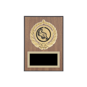 """5"""" x 7"""" Wrestling Plaque with gold background plate, colored engraving plate, gold open wreath medallion holder and Wrestling insert."""