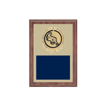 """5"""" x 7"""" Wrestling Plaque with gold background plate, colored engraving plate, gold wreath medallion and Wrestling insert."""
