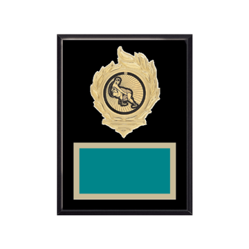 """6"""" x 8"""" Wrestling Plaque with gold background, colored engraving plate, gold flame medallion holder and Wrestling insert."""