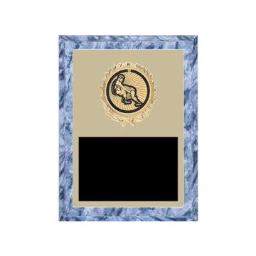 """6"""" x 8"""" Wrestling Plaque with gold background plate, colored engraving plate, gold wreath medallion and Wrestling insert."""