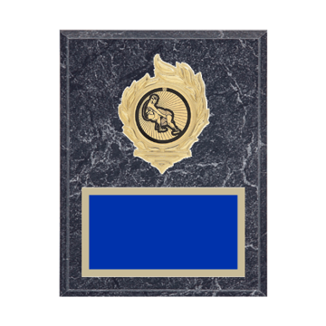 """7"""" x 9"""" Wrestling Plaque with gold background, colored engraving plate, gold flame medallion holder and Wrestling insert."""