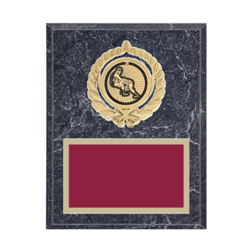 """7"""" x 9"""" Wrestling Plaque with gold background plate, colored engraving plate, gold open wreath medallion holder and Wrestling insert."""
