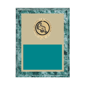 """7"""" x 9"""" Wrestling Plaque with gold background plate, colored engraving plate, gold wreath medallion and Wrestling insert."""