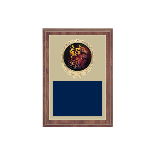 """5"""" x 7"""" Music Plaque with gold background plate, colored engraving plate, gold wreath medallion and Music insert."""