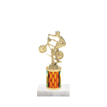 "7"" BMX Trophy with BMX Figurine, 2"" colored column and marble base."