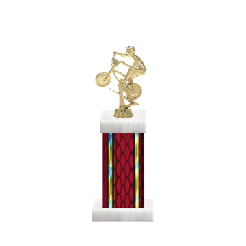 "12"" BMX Trophy with BMX Figurine, 5"" colored column and marble base."