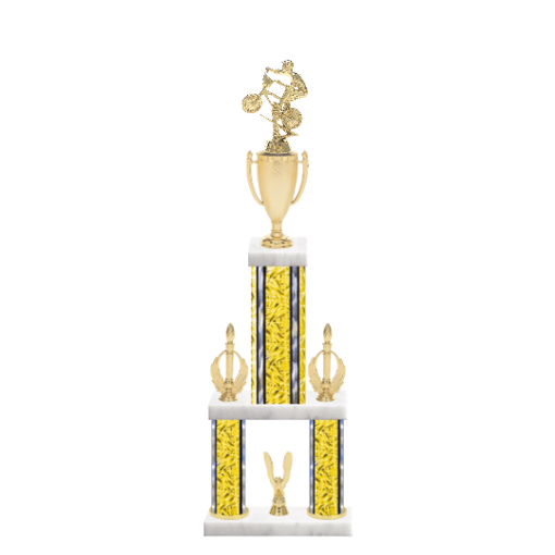 """24"""" Multi-Tier BMX Trophy with BMX Figurine, 7"""" colored top column, 5"""" colored bottom columns, cup riser, double side trim and center base trim."""