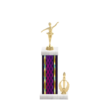 """14"""" Dance Trophy with Dance Figurine, 6"""" colored column, side trim and marble base."""
