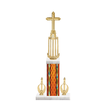 """18"""" Cross Trophy with Cross Figurine, 7"""" colored column, double side trim and marble base."""