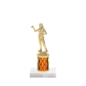 """7"""" Dart Trophy with Dart Figurine, 2"""" colored column and marble base."""