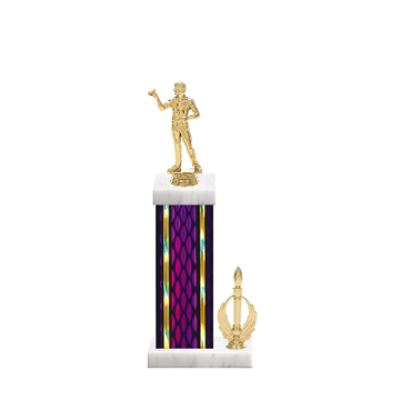 """14"""" Dart Trophy with Dart Figurine, 6"""" colored column, side trim and marble base."""