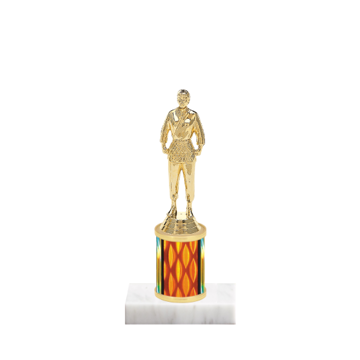 "7"" Martial Arts Trophy with Martial Arts Figurine, 2"" colored column and marble base."