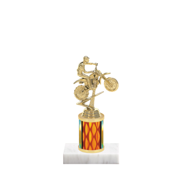 "7"" Motorcycle Riding Trophy with Motorcycle Riding Figurine, 2"" colored column and marble base."