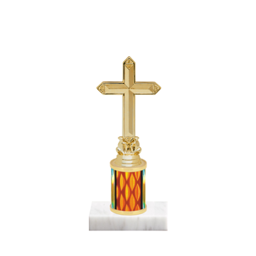 "7"" Religion Trophy with Religion Figurine, 2"" colored column and marble base."