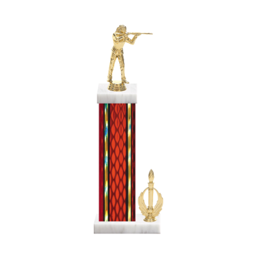 "15"" Trap & Skeet Trophy with Trap & Skeet Figurine, 7"" colored column, side trim and marble base."